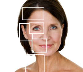 Headshot of a woman with repaired skin areas highlighted